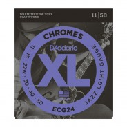 Daddario ECG24 Chromes Flat Wound, Jazz Light, 11-50